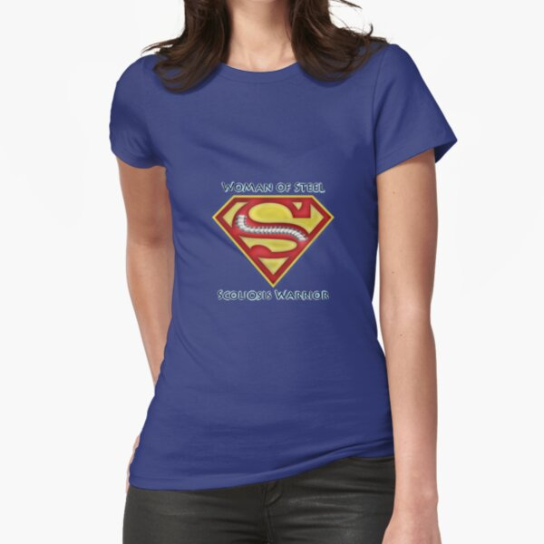 Woman of Steel - Scoliosis Awareness Fitted T-Shirt