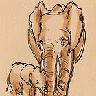 Elephant Watercolor Painting #1 by Rebecca Rees