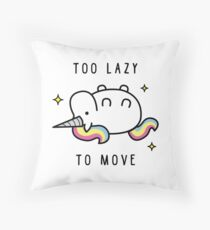 Too Lazy To Move Unicorn T-Shirt Throw Pillow