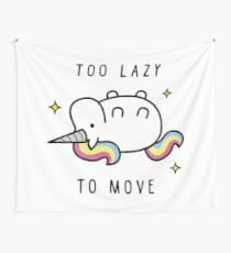 Too Lazy To Move Unicorn T-Shirt Wall Tapestry