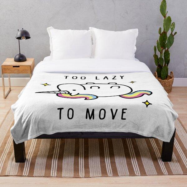 Too Lazy To Move Unicorn T-Shirt Throw Blanket