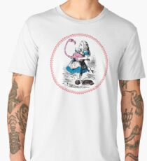 Alice in Wonderland | Alice trying to play croquet with a Flamingo and Hedgehogs Men's Premium T-Shirt