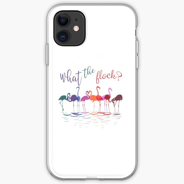 Colorful Flamingos   What the Flock  iPhone Soft Case