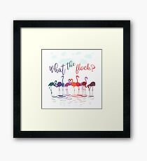 Colorful Flamingos   What the Flock  Framed Print