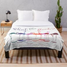 Colorful Flamingos   What the Flock  Throw Blanket