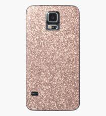 Rosa Rose Gold Metallic Glitter Hülle & Klebefolie für Samsung Galaxy
