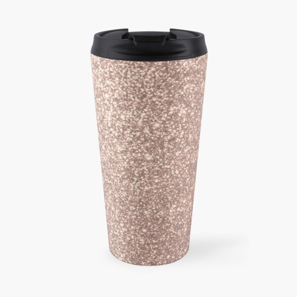 Pink Rose Gold Metallic Glitter Travel Mug