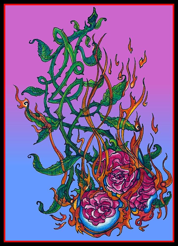 Burning Roses (Illustration)- by Robert Dye