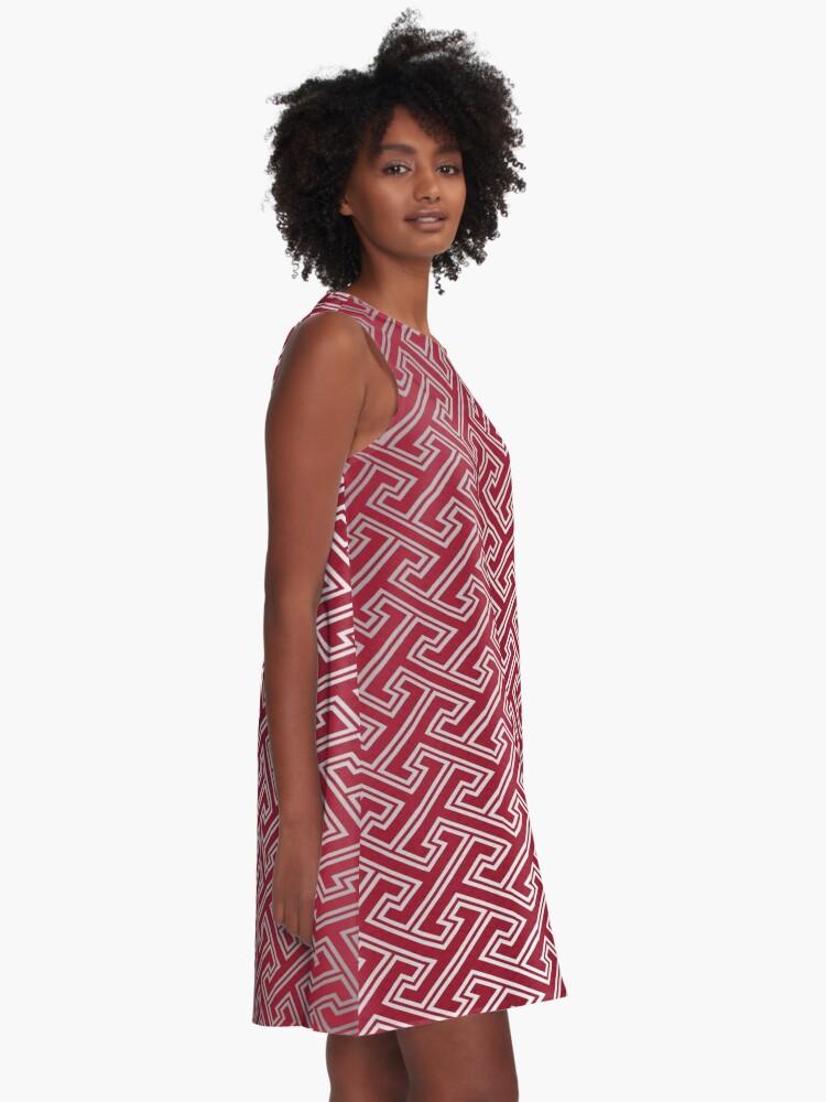 Alternate view of Trendy Fashionable Burgundy Silver Bordeaux Interlocking Pattern A-Line Dress