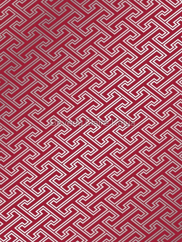Trendy Fashionable Burgundy Silver Bordeaux Interlocking Pattern by beverlyclaire