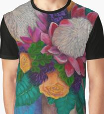Fantasy Queen Proteas and Orange Roses Graphic T-Shirt