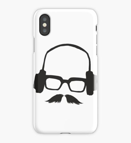 Hipster Face Portrait Music Mustache Glasses iPhone Case/Skin