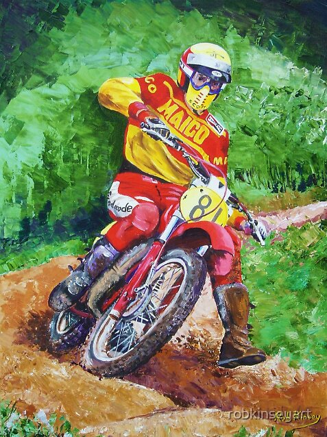 Self portrait Rob Kinsey on his Maico by robkinseyart