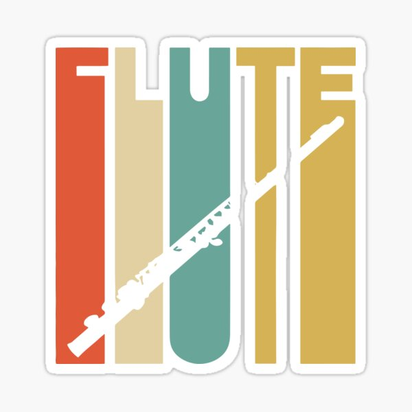 Vintage Style Flute Silhouette Shirt Sticker