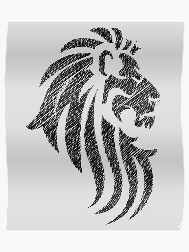 0576b5f8d Lion Tribal Tattoo Style Distressed Design