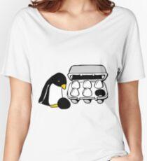 LINUX TUX PENGUIN EGG BOX BLACK EGG Women's Relaxed Fit T-Shirt