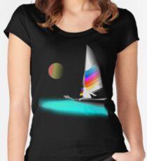 Catamaran-Hobie Beach Cat-Sunset Sail-01 Women's Fitted Scoop T-Shirt