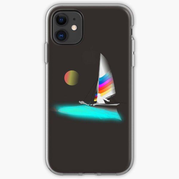 Catamaran-Hobie Beach Cat-Sunset Sail-01 iPhone Soft Case