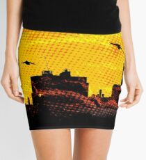 Sunset over city skyline - Birds Mini Skirt