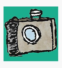 Old Timey Camera Minimalist Ink Drawing Photographic Print