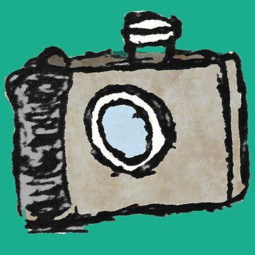 Old Timey Camera Minimalist Ink Drawing by cephasgarrett