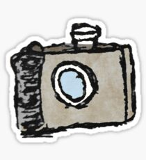 Old Timey Camera Minimalist Ink Drawing Sticker