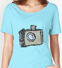 Old Timey Camera Minimalist Ink Drawing Women's Relaxed Fit T-Shirt