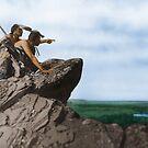 Watching The Herd - American Indians by DanKeller