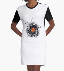 Enchanting Vinyl Records Vintage Graphic T-Shirt Dress