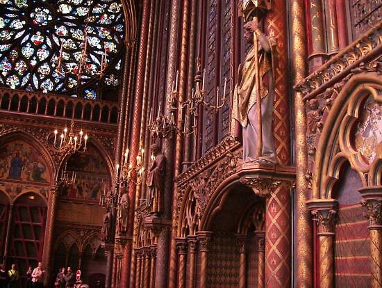 Inside of St Chapelle cathedral, Paris by chord0