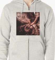 TIME AERIALS Squamafly Red Zipped Hoodie