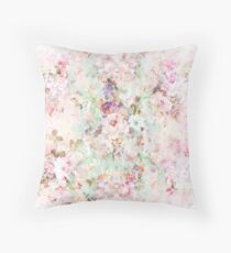Pink watercolor vintage flowers pattern Throw Pillow