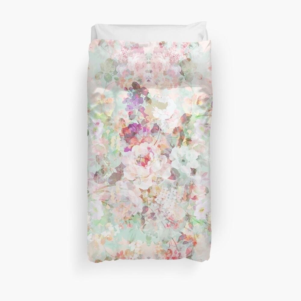 Rosa Aquarell Vintage Blumen Muster Bettbezug