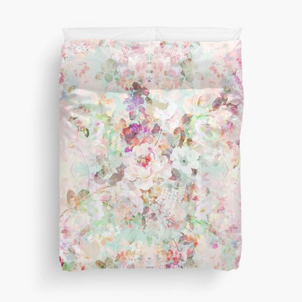 Pink watercolor vintage flowers pattern Duvet Cover