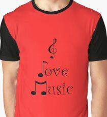 I Love Music - Retro Red Graphic T-Shirt