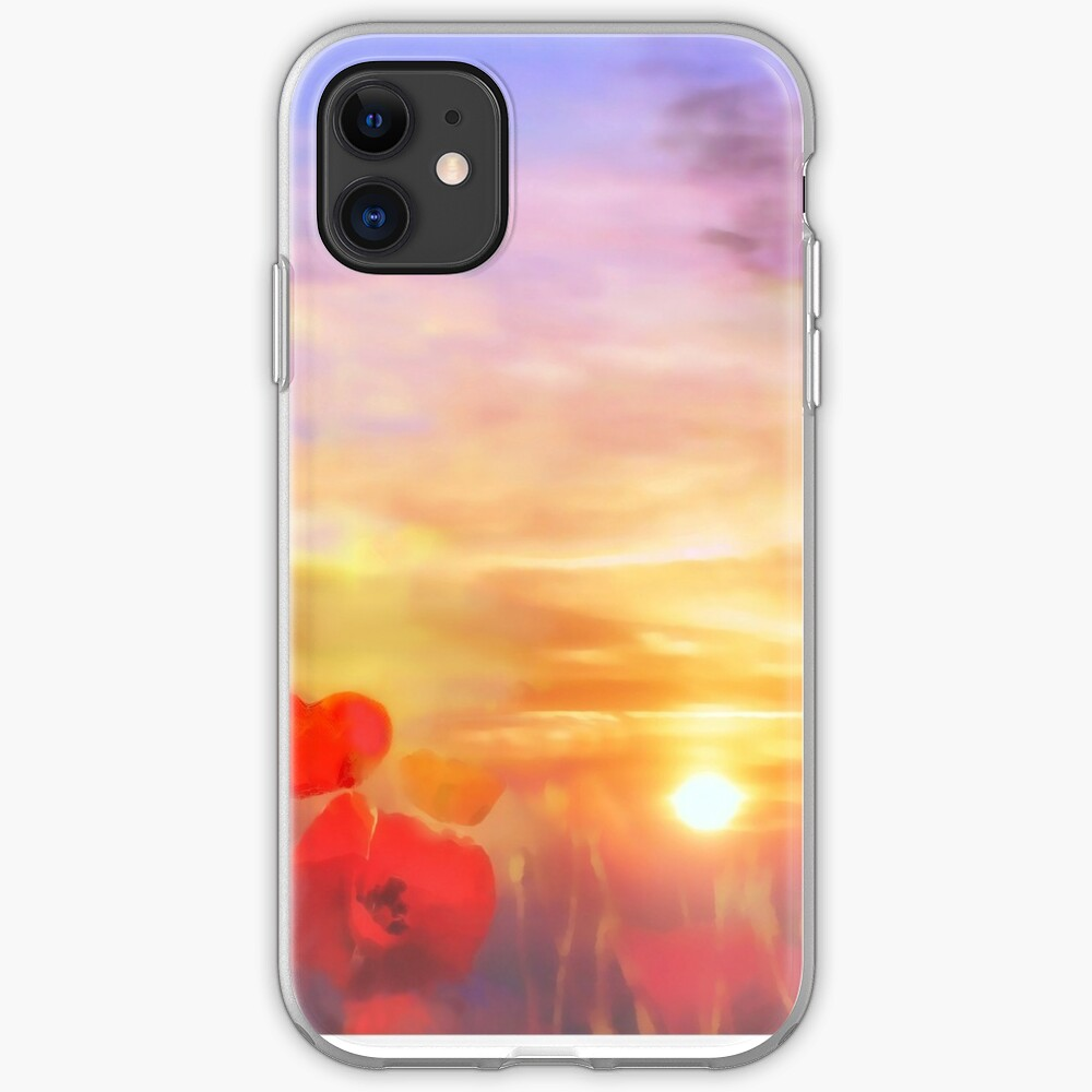 Landscape of dreaming Poppies  iPhone Case & Cover