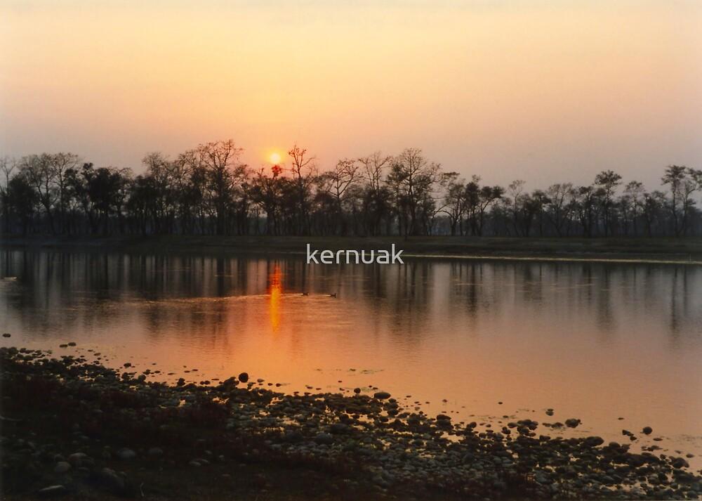 Chitwan Sunset by kernuak