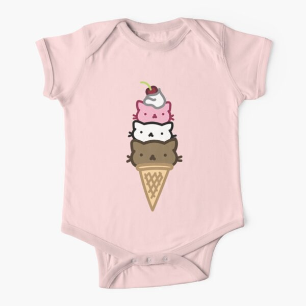 Marshmallow Bean: We are three scoops of friendship Short Sleeve Baby One-Piece
