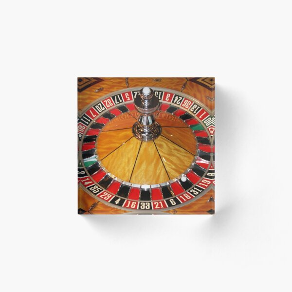 Las Vegas casino roulette wheel on Tee Shirt, cards, prints by Tom Conway Art Acrylic Block