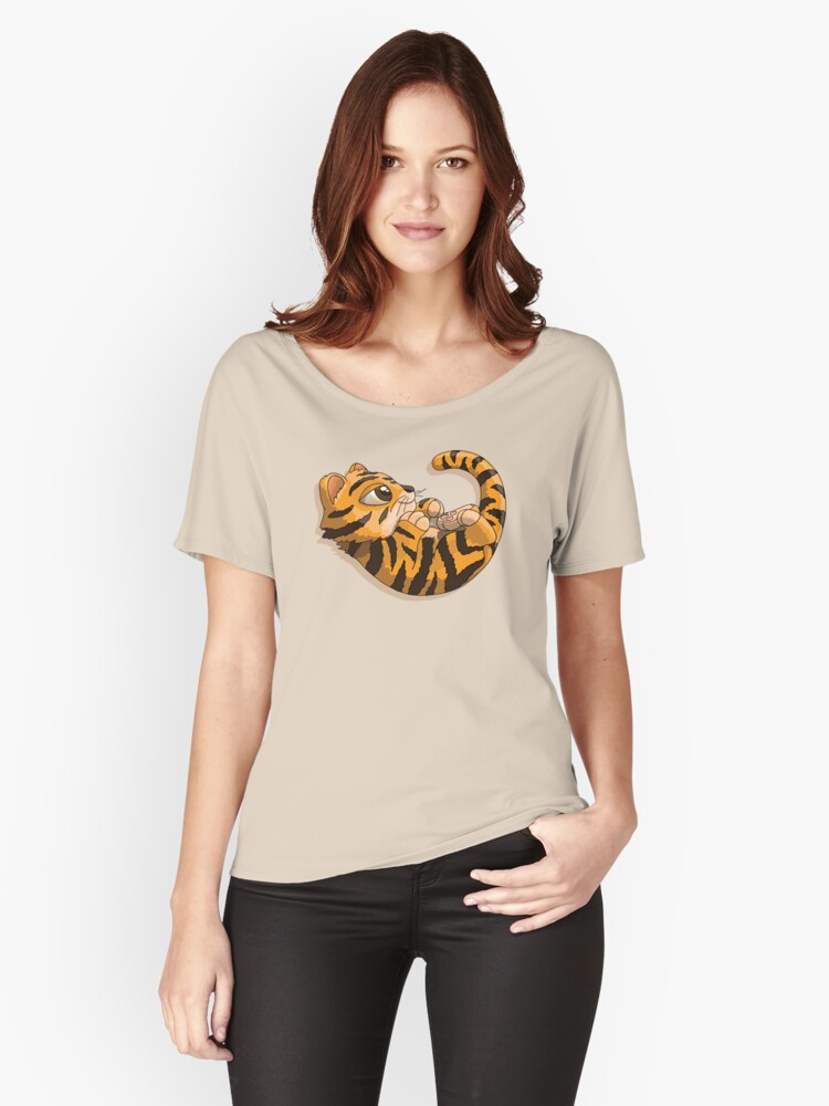 Tiger cub cartoon character playing with his tail Women's Relaxed Fit T-Shirt Front