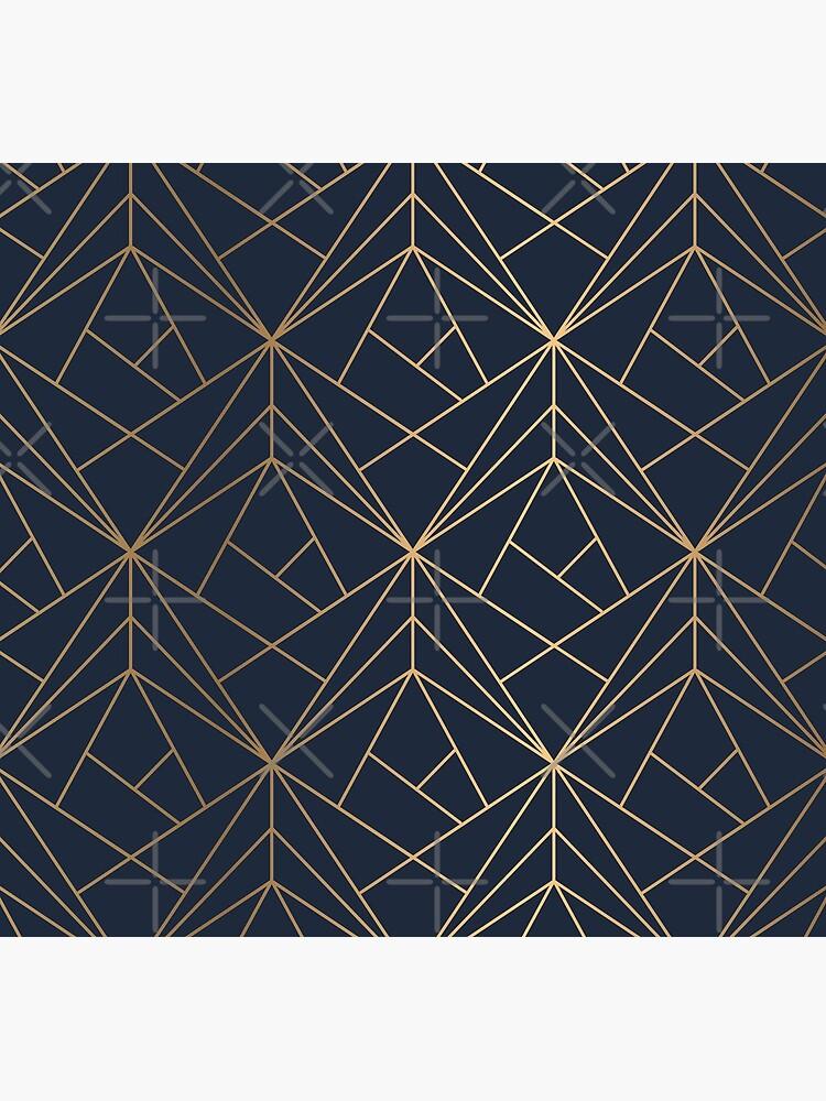 Elegantes geometrisches Kupfer Marineblau von kleynard
