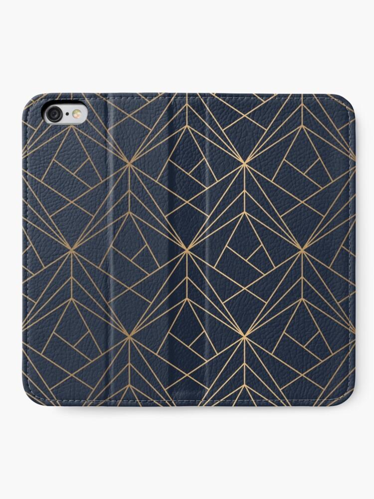 Alternative Ansicht von Elegantes geometrisches Kupfer Marineblau iPhone Flip-Case
