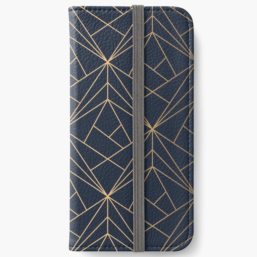 Elegantes geometrisches Kupfer Marineblau iPhone Flip-Case