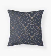 Elegantes geometrisches Kupfer Marineblau Dekokissen