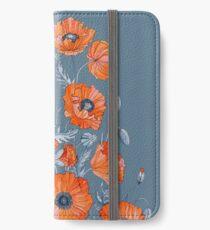 Blumen botanische Kunst der Mohnblumen iPhone Flip-Case/Hülle/Klebefolie
