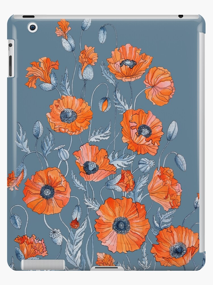 Poppies Floral Botanical art by Ruta Dumalakaite