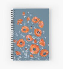 Poppies Floral Botanical art Spiral Notebook
