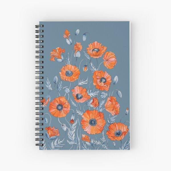 Poppies Floral Botanical art Spiral Notebook