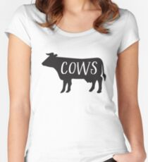 COWS (female cow sign perfect for toilets) with matching bulls Women's Fitted Scoop T-Shirt