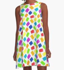 Seamless pattern background. Pastel crayon spots. A-Line Dress